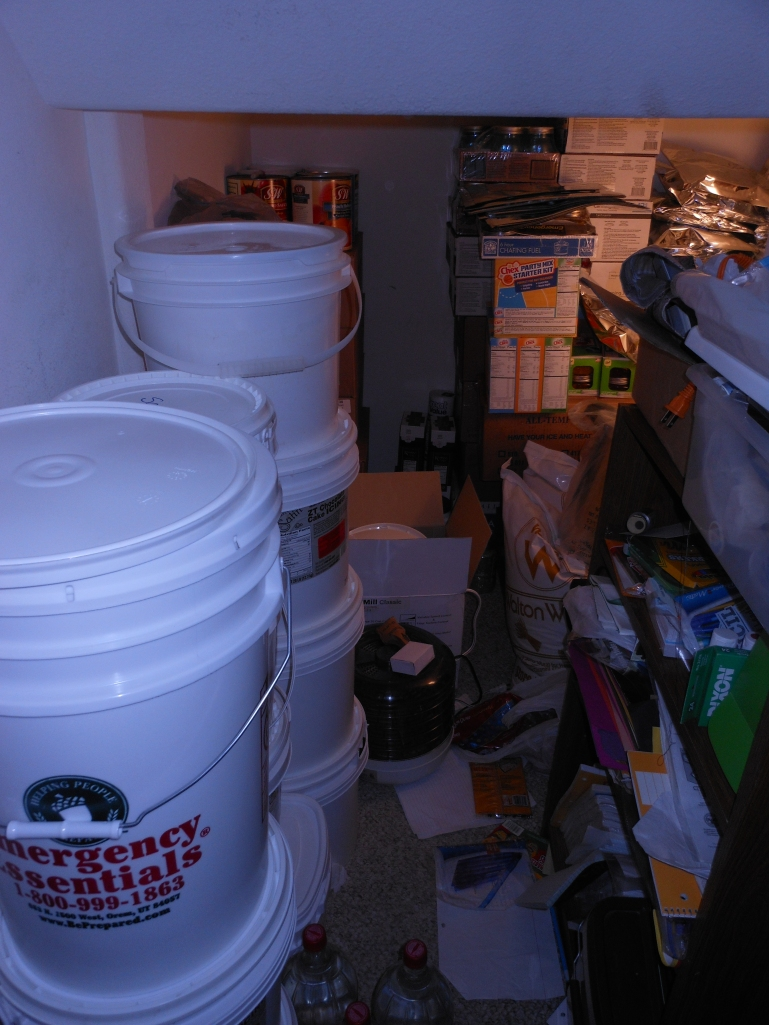 My messy closet under the stairs with my extra buckets.  I've actually straightened it a tiny bit since then, but I promise I'll clean it up and show you it at its best.