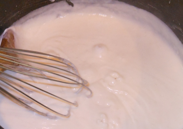 I continued to heat it on medium and used a whisk until it looked like this.  It only took a couple of minutes.