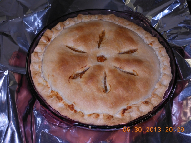 And, finally, I made an apricot pie with the leftover apricots.  I used the recipe on the tapioca box to make the filling and Voila!  Pie!