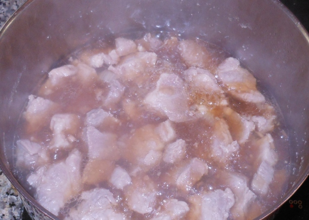 I bought the meat mixture to a boil, and let it simmer on the stove.