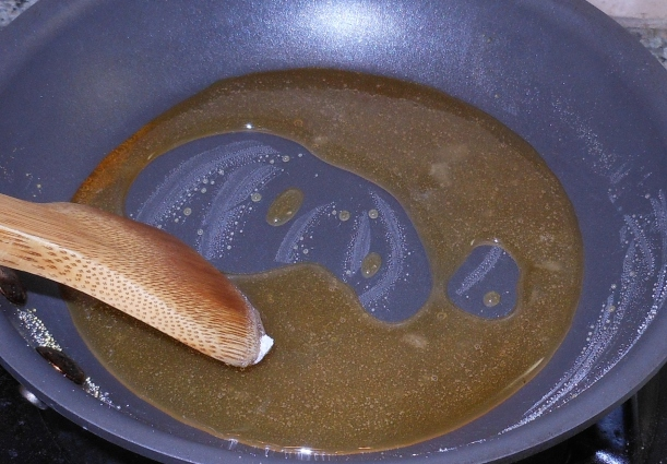 The sugar is melted.  Now I need to cook the sugar (caramel) mixture until it's a little darker.