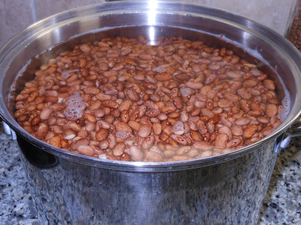 I've never soaked this many beans , so I had to add more water.  Honestly, I usually don't soak my beans.  I just put them in the pressure cooker.