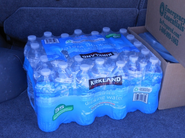 You can buy a couple cases of bottled water to have on hand.  Stick it under your bed.
