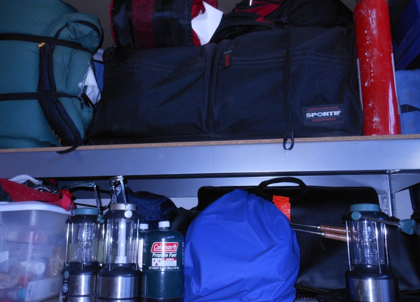Extra Propane, sleeping bags, tents, camp stove, battery powered lanterns, and cooking pots.