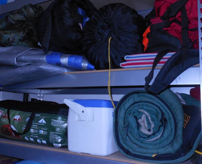 Sleeping Bags, Tents, Tarps, Sleeping Mats, and Coolers.