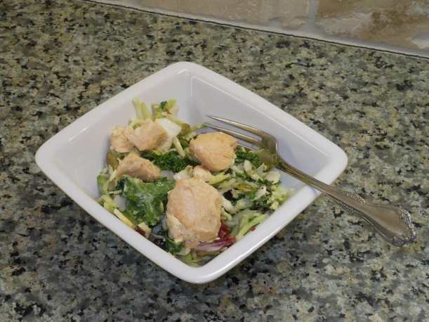My very own pressure canned chicken with a little salt atop Costco's Eat Smart Superfood Kale Salad.  Yummy!