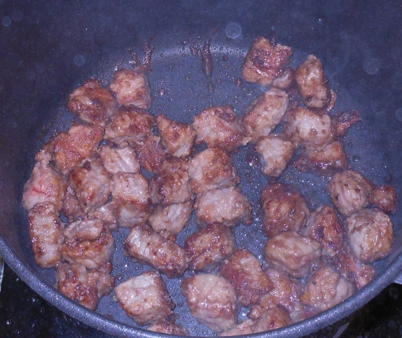 Then I added the first batch of meat back to the pan.