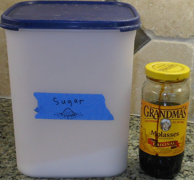 Assemble your ingredients: sugar and molasses.  I use Grandma's molasses, but you can use any unsulphured molasses.  (It will say unsulphured on the jar.)