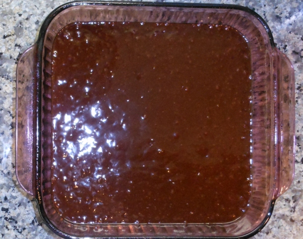 I poured the brownie mix into a greased Pyrex pan (my baking pan of choice).