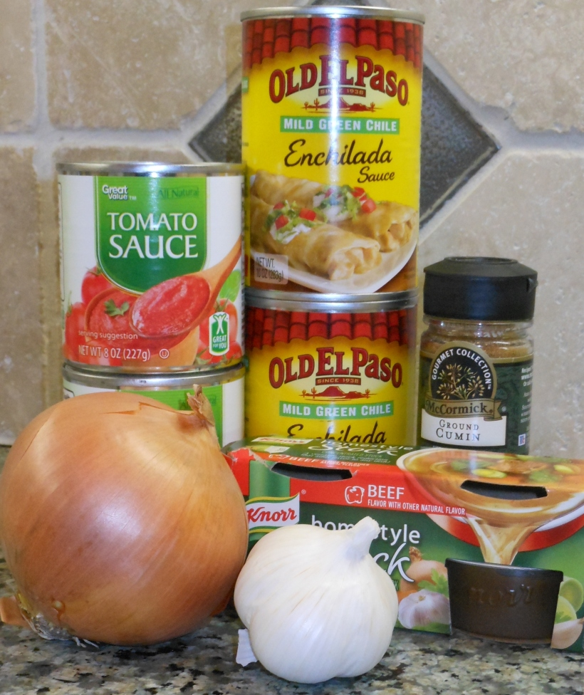 As always, I start by assembling the ingredients.  This recipe uses a canned green enchilada sauce.  Please feel free to substitute for a different brand or for a homemade green enchilada or chile sauce.