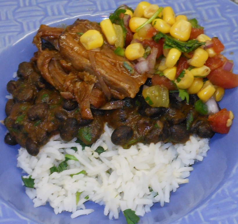 Cilantro Lime Rice, Cafe Rio Knock-off Black Beans, Cafe Rio Knock-off Beef, and Corn Salsa (recipe coming soon).