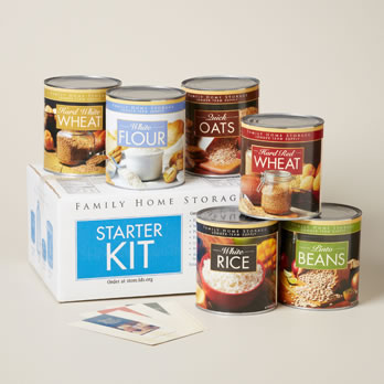 Home Storage Center Starter Kit includes: wheat, rice, flour, oats, and beans.