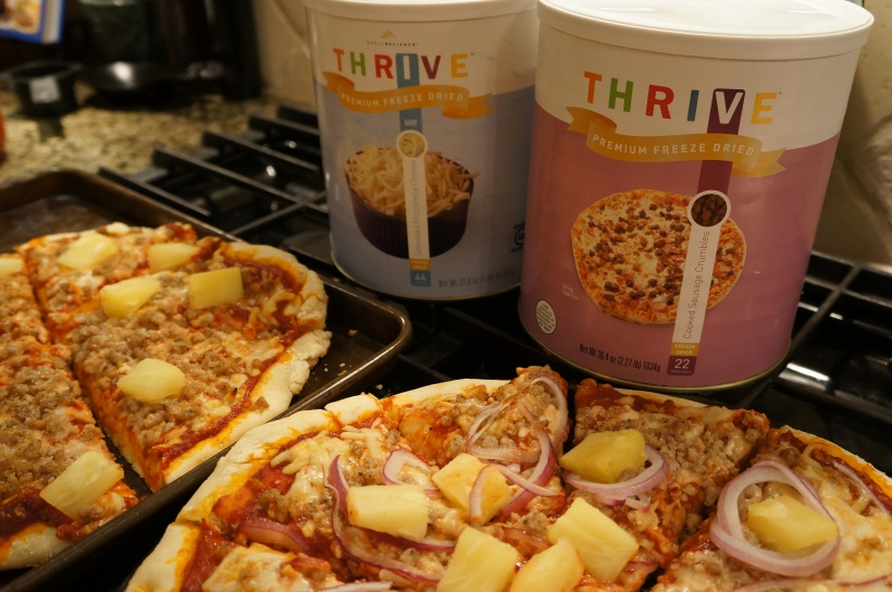 Look at this delicious pizza made with Thrive Food Storage!  No one will be suffering eating this!