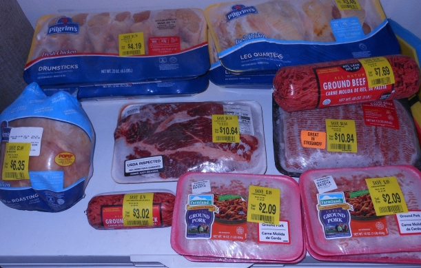 "Last year, the GFCI outlet my chest freezer uses tripped, and I didn't notice for several days.  It was a very sad discovery when my son told me that the meat in the freezer felt warm.  I lost everything!  While a good lesson in not only checking my chest freezer daily (it's in the garage), it also reminded me that I cannot rely on my freezer alone for meat storage.  This month, my local Wal-mart had some great markdowns on meat.  I bought quite a few and feel that my ""back-up"" meat supply is good.  I used some of what I purchased this month, but this is the excess from March's purchases.  This is helpful, not only because I have some extra food on hand, but also because it allows me to wait until meat is on sale, so I never pay full price."