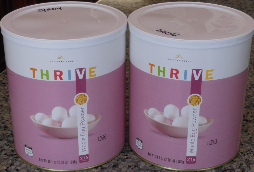 Thrive was having a great sale on their entire inventory last month, so I picked up two cans of dried eggs.  If you've read my blog before, you know how much I love them.  See here and here.