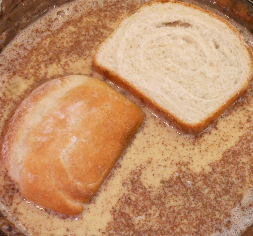 Mix in cinnamon.  Then place your slices into the egg mixture and let the bread absorb egg.