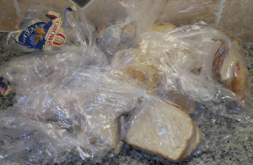 That's a lot of bags!  But, trust me, there's bread in there, too.