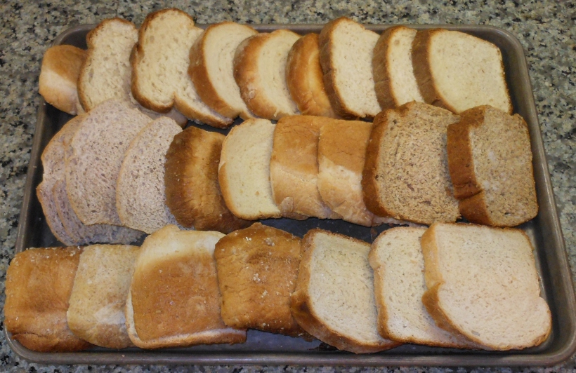 Lots and lots of bread, especially heels.  This has white bread, sourdough wheat sandwich bread, and other whole grain breads.