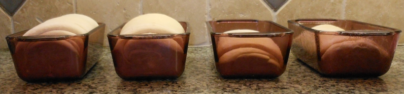This picture really shows the difference.  By this time, the loaves on the right had been rising for almost 2 hours.  The ones on the left?  30 minutes.