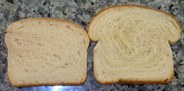 You can see how dense the first batch is when you compare slices.  These are slices from the middle of the loaves.  The one on the left is my first batch.  The one on the right is my second batch.