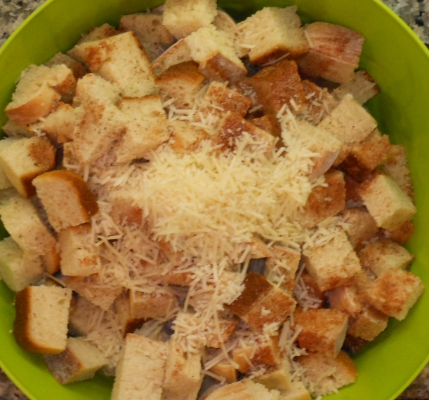 And added the Parmesan.  Then I stirred the bread, spice, Parmesan mixture.