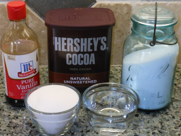 I assembled my ingredients (minus the heavy whipping cream).