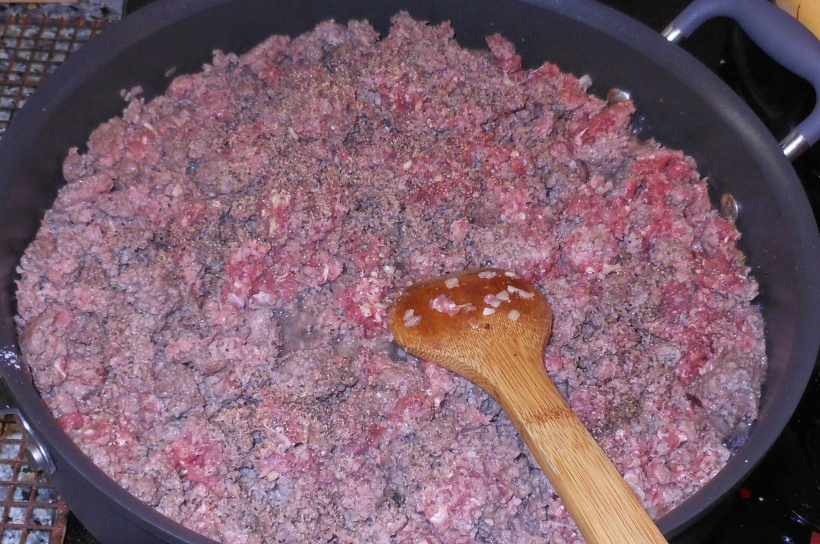 When the meat was almost cooked through, I added the salt and pepper and continued to cook the meat.