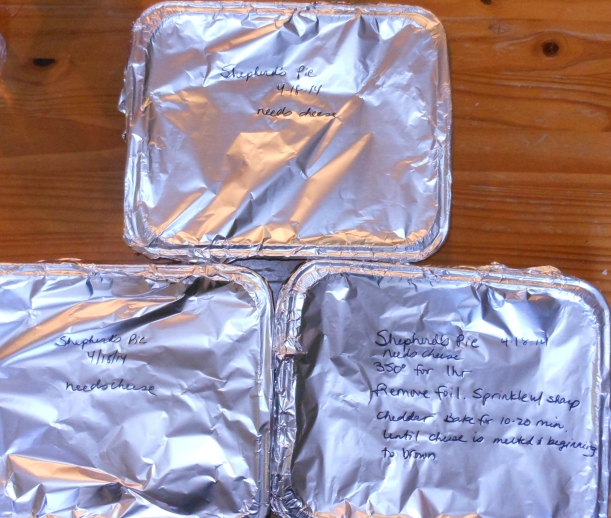 I covered the pans with foil, labeled them, and put them in the freezer.