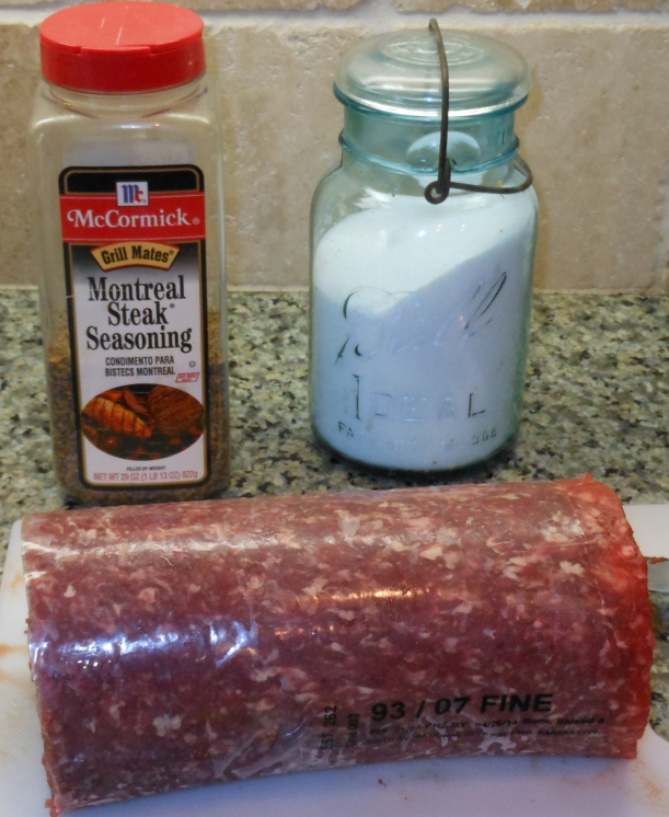I started by gathering my ingredients together.  Please note that I doubled the recipe and am using 4 pounds of lean ground beef.