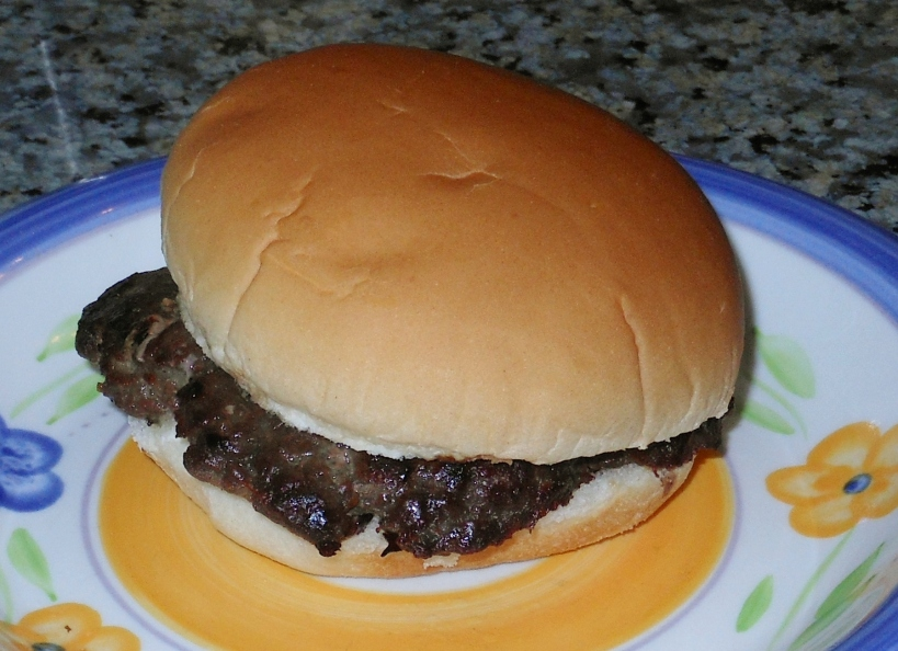Within 5 minutes of pulling the hamburger patty from the freezer, my son was eating it!  Now, that's fast food!