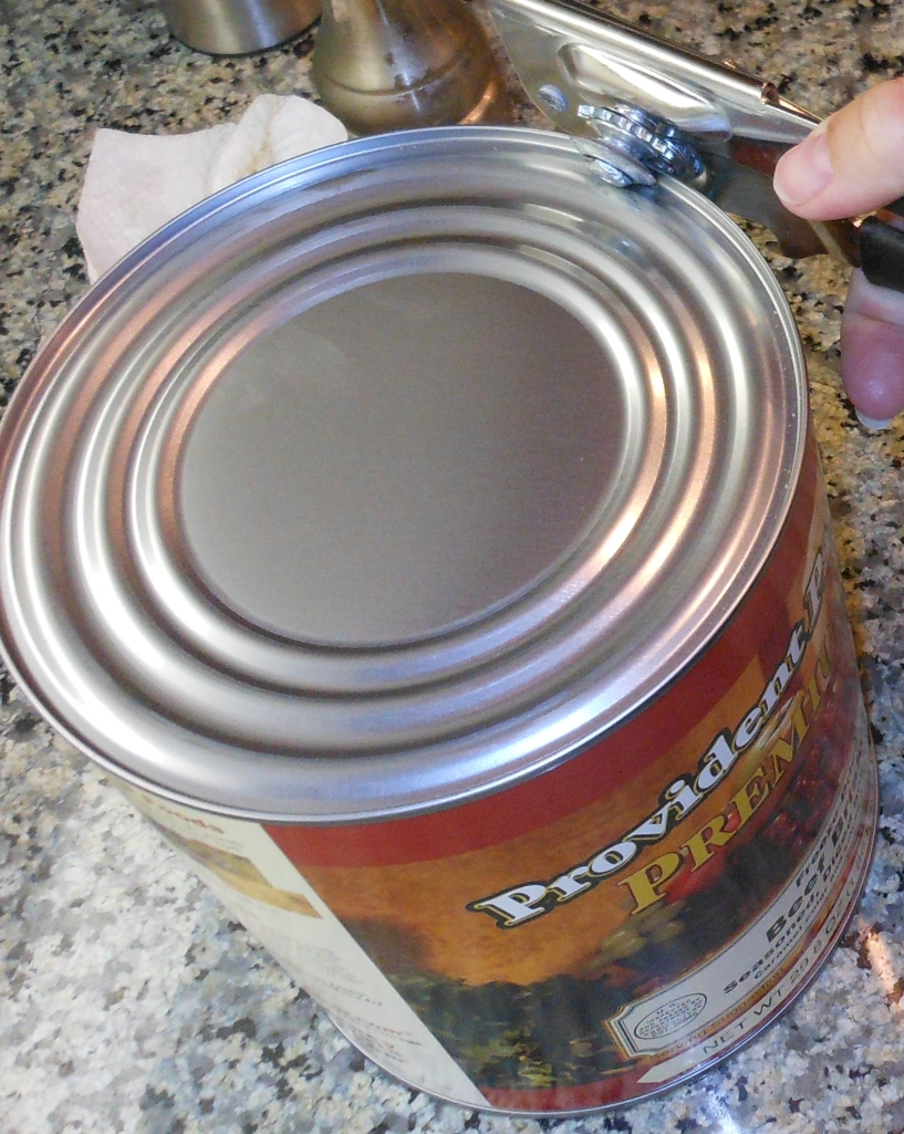 I opened the can with a traditional can opener.
