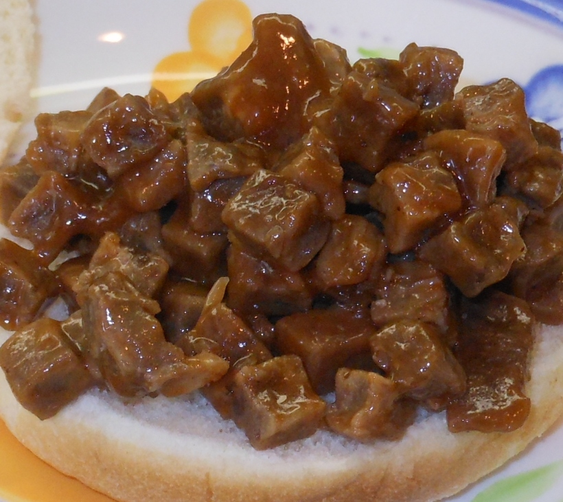 To make my super fancy BBQ Beef Brisket sandwich, I simply put the beef and BBQ sauce mixture on a bun.
