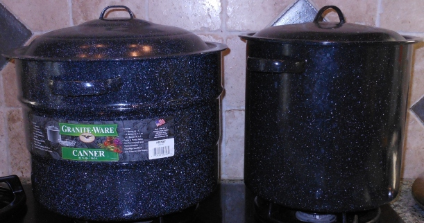 When I have a lot to can, I use a stock pot as well.  I have a little rack that fits in the bottom to keep the jars from touching the bottom of the pan.  Seriously, any pot will work if you have a rack (to keep the jars off the bottom of the pan), and it's deep enough that the water level is at least 2 inches above the top of the jars.