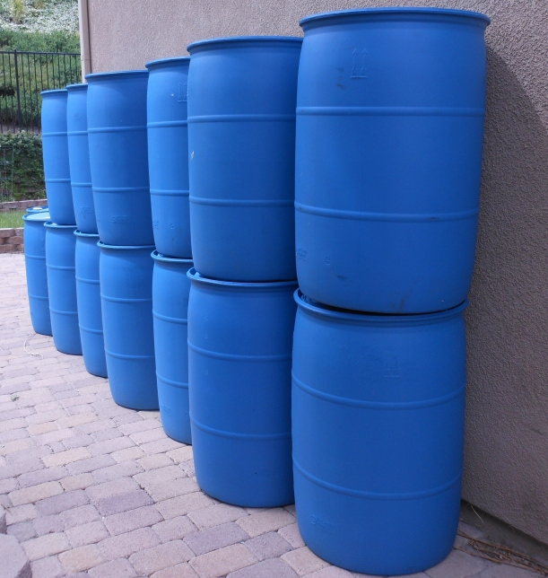 14 - 55 gallon water barrels.  This is at least a 4 month supply of basic water for my family.  Too bad these aren't mine.