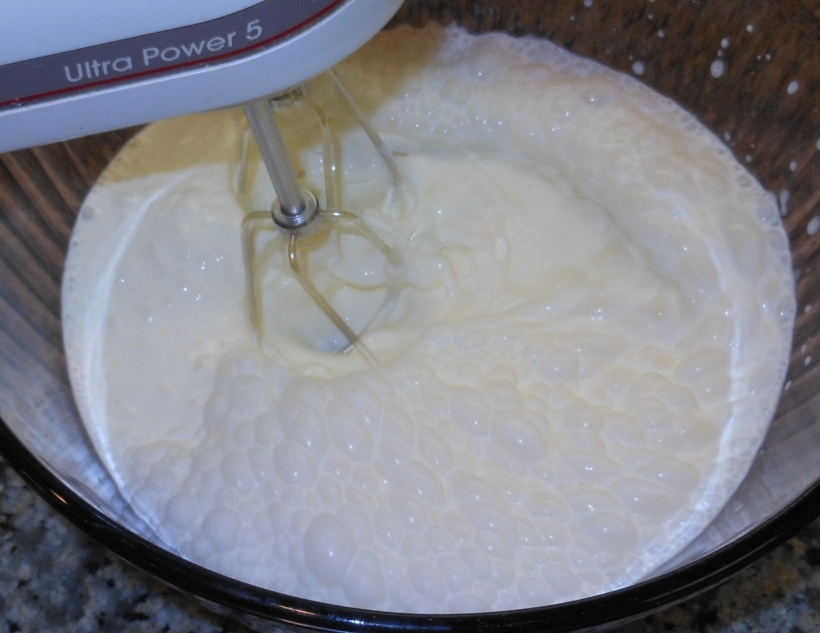 Mix the sugar and cream together.  I use a hand mixer, because it's so much easier.  My Kitchenaid stand mixer is even faster.  I've made it by hand, too, with a whisk.  It takes about 10 minutes, but it's still worth it!