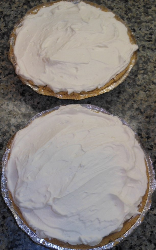 And, Viola!  Two pies ready to go in the fridge or to serve!
