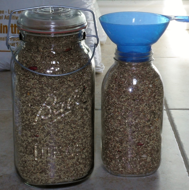 Of course, I wanted to keep some Ezekiel mix out for me to play with, so I poured some into my 1 gallon and 1/2 gallon mason jars.