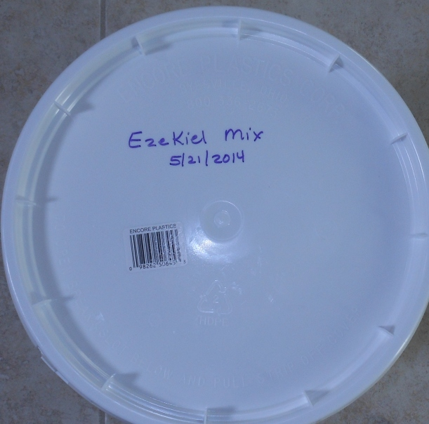Then I labeled the bucket with the contents and date.