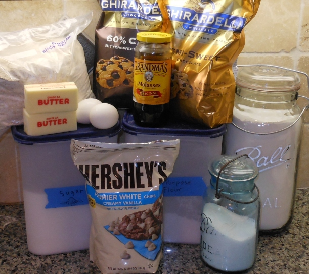 All ingredients assembled, except for the real vanilla extract. Don't forget it! It makes these cookies extra delicious!