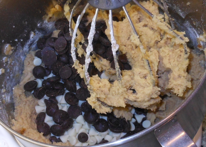 Finally, I added the chocolate chips. I added about 1 cup of each kind of chocolate chips: white chocolate chips, semi-sweet chips, and 60% cacao chips.