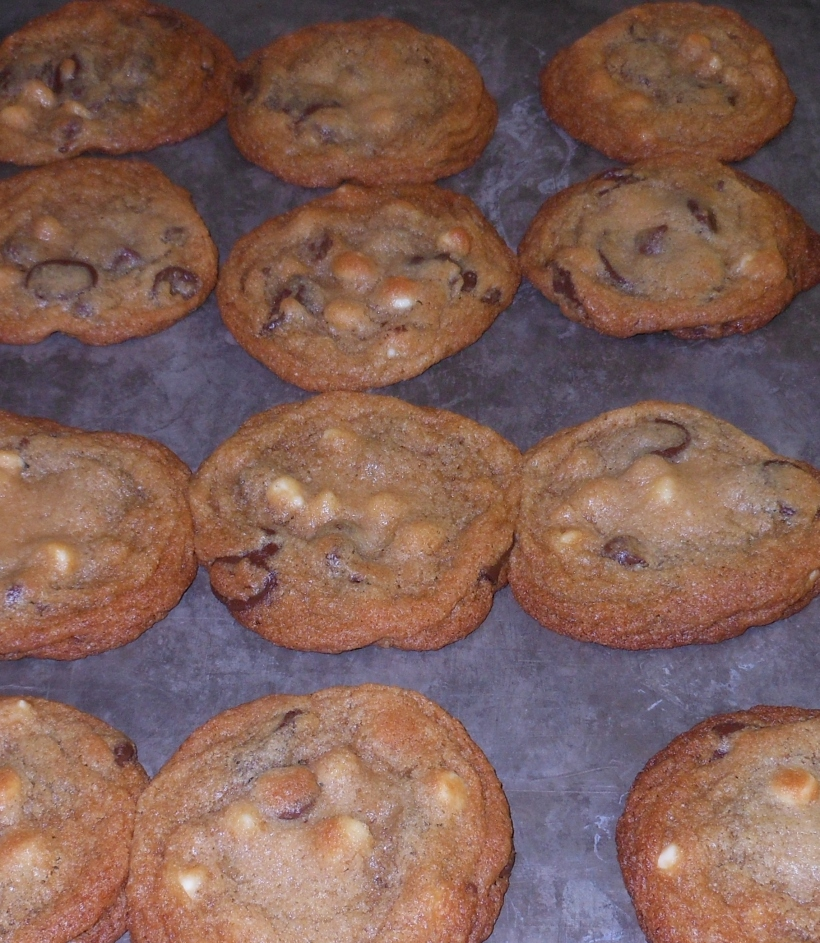 I rotated the pan once during cooking to ensure the cookies baked evenly, and removed it when the cookies looked just a tad bit underdone. I left them on the cookie sheet to finish baking.