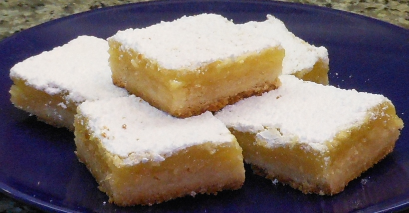 Then I cut them into 1 1/2 inch squares.  They sure are yummy!  Sweet and tart all in one little bite.  YUM!