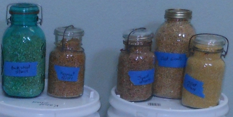 And did you see these?  Remember I said that I wanted to experiment with some of these grains?  Here they are in mason jars ready for experimentation!