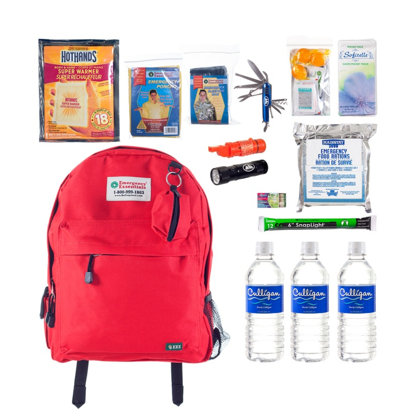 "Some basic emergency kit items.  This is called the ""3-day light"" emergency kit."