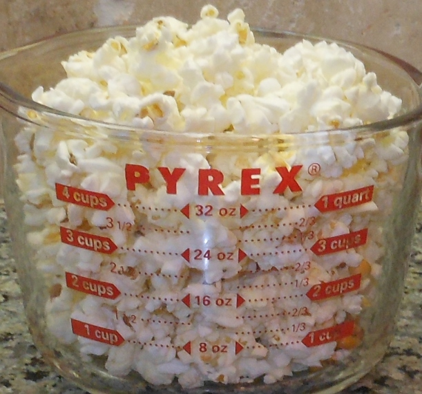 Or, you can pour it into a bowl and serve. Just under 3 tablespoons of unpopped popcorn popped about 6 cups of popcorn.