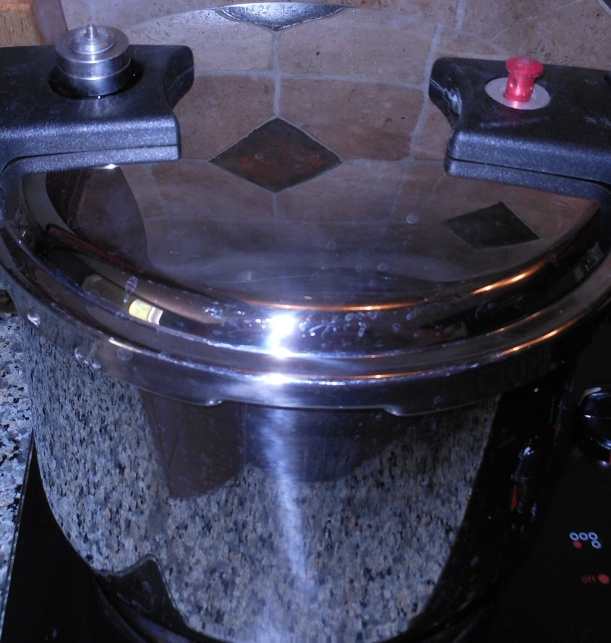"I put the lid on my pressure cooker, making sure it was locked in place, and turned the heat on high. Once the cooker was pressurized (see the red ""button"" popped up on the right), I turned the heat to medium-low to maintain the pressure inside the cooker. * * * Your pressure cooker may have different instructions or safety features. Please make sure you read and follow the instructions that came with your pressure cooker. * * *"