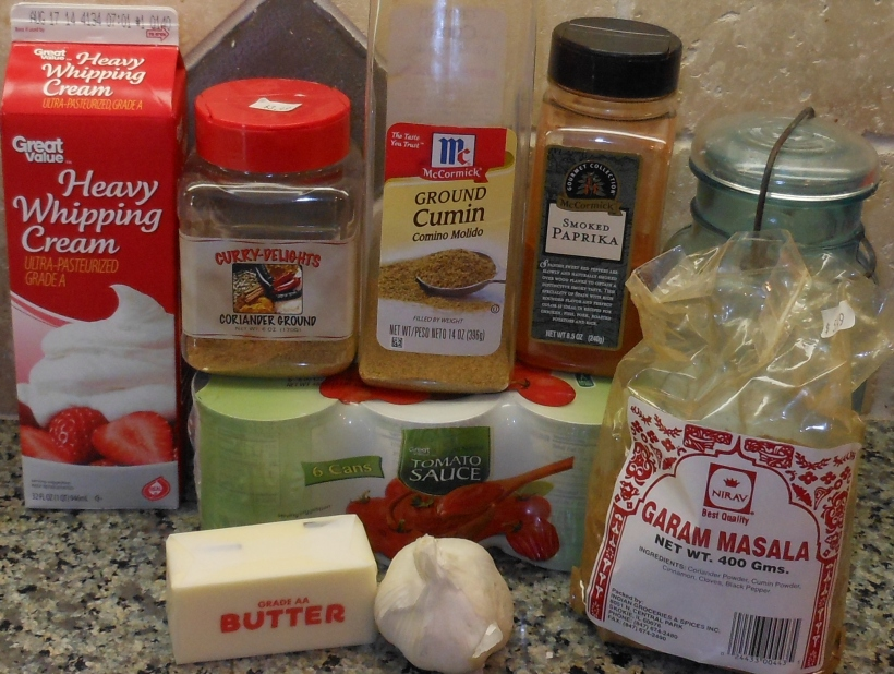 While the chicken was broiling, I started the sauce.  First, I assembled the ingredients.