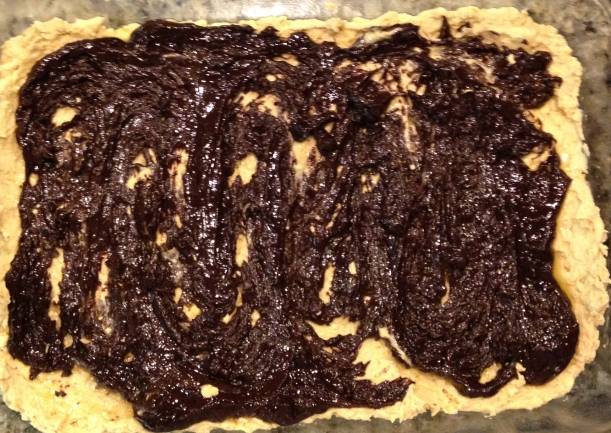 I spread the chocolate mess over the top.