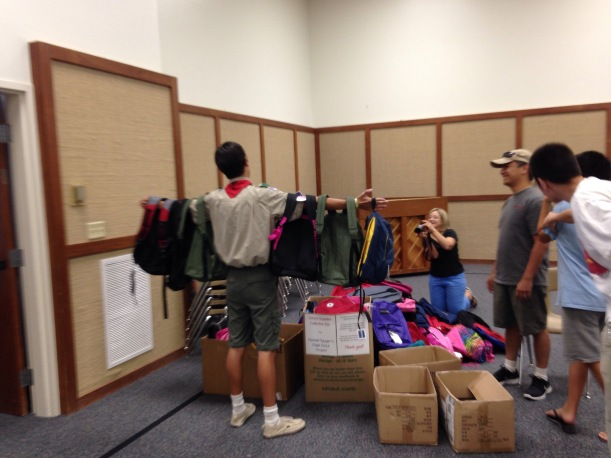 My third son completed his Eagle Scout project this summer.  He organized a collection drive and filled backpacks for children at local schools.  He was able to provide over 200 backpacks!