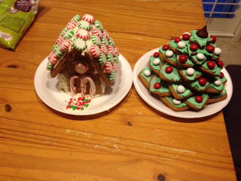 I was planning to have a big gingerbread party with all my friends and their kids, but I got sick.  A couple weeks after the planned event, I made a small batch of gingerbread, and my youngest son and I made our choice of gingerbread object.  He made a house, and I made a tree.
